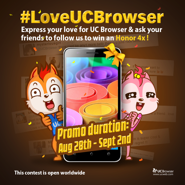 Contest !! Love UC Browser Win Free An Huawei Honor 4X & $10 Mobile