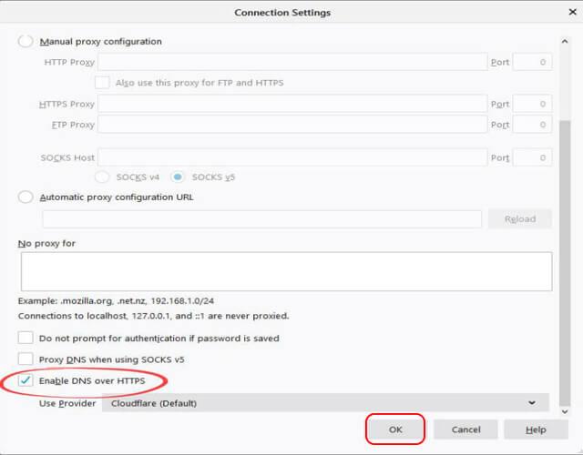 تفعيل تقنية DNS OVER HTTPS على متصفح Fire Fox