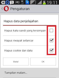 Menghapus Riwayat Pada browser Operamini