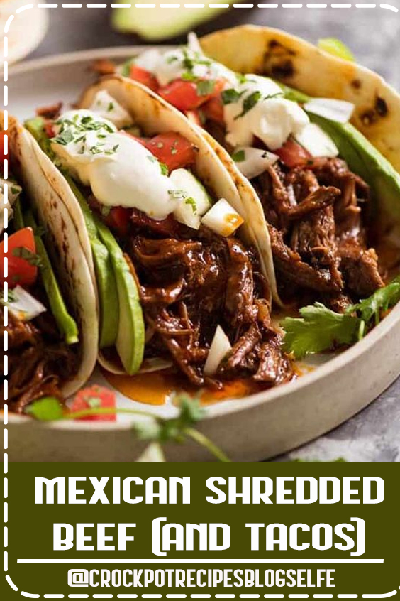 This Mexican Shredded Beef has incredible depth of flavour! The sauce is really rich and thick, and there is PLENTY of it. Fantastic for tacos, burritos, enchiladas and quesadillas, piled high on Mexican Red Rice or stuffed in rolls to make sliders! #CrockpotRecipesBlogSelfe #Mexican #Beef #CrockpotRecipesBeef