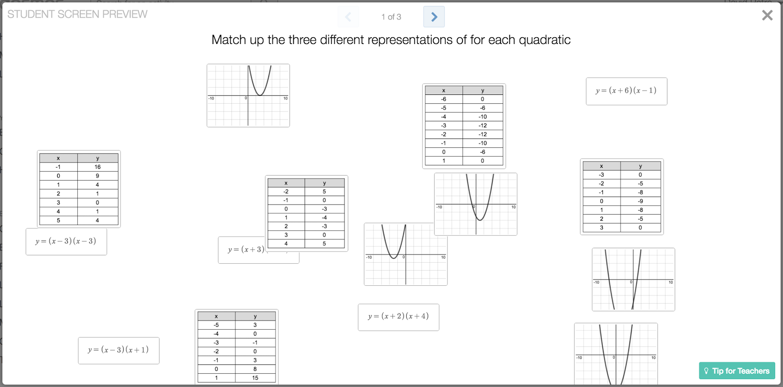 Engaging Math Sort Students Into Groups Using Quadratic Representations
