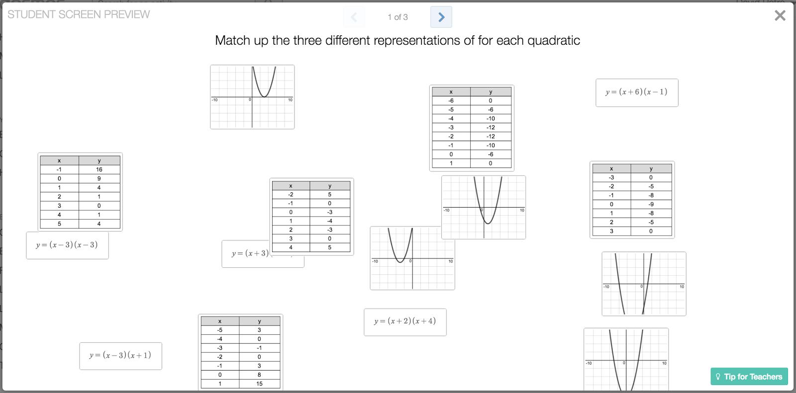 Engaging Math Sort Students Into Groups Using Quadratic Representations