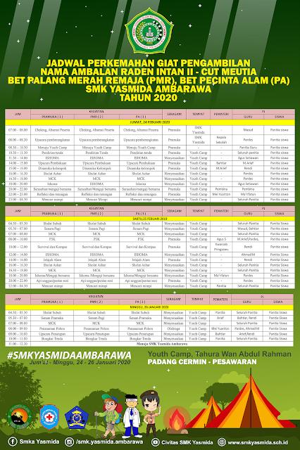 Desain Banner Jadwal Perkemahan SMK Yasmida Ambarawa Tahun 2020