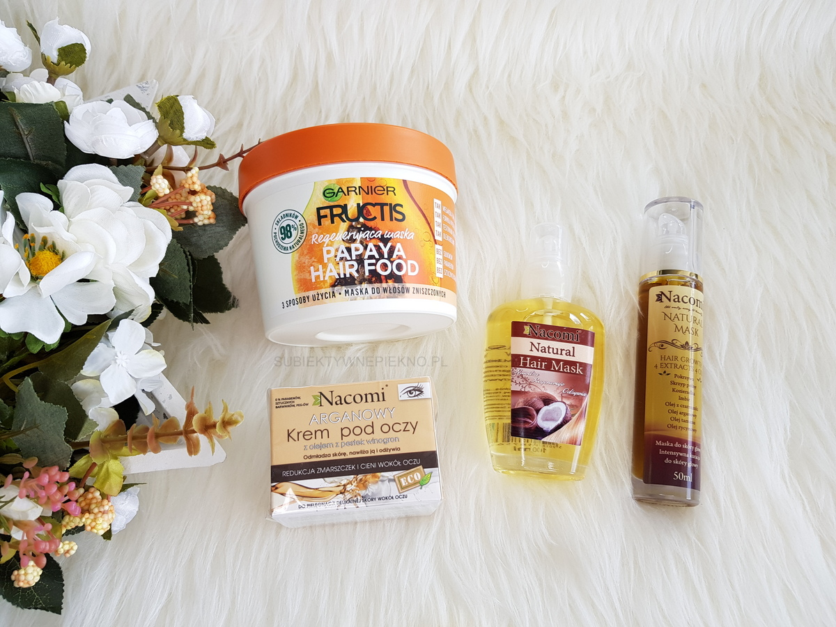 Nowości maj 2018 | Olejki i krem Nacomi, Maska Garnier Fructis Papaja Hair Food