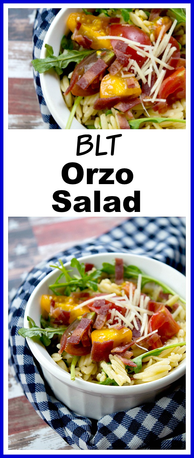 BLT Orzo Salad- This BLT orzo salad is fast to prepare, and can be served warm or cold! It's great for summer BBQs and picnics! | quick recipe, easy recipe, pasta salad, side dish, main dish, bacon, Memorial Day, Fourth of July, food to bring to a barbecue party