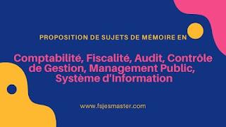 Proposition de sujets de mémoire en Comptabilité, Fiscalité, Audit, Contrôle de Gestion, Management Public,  Système d'Information