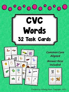 CVC Words 32 Task Cards