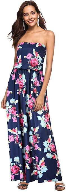 Women's Floral Strapless Maxi Dresses