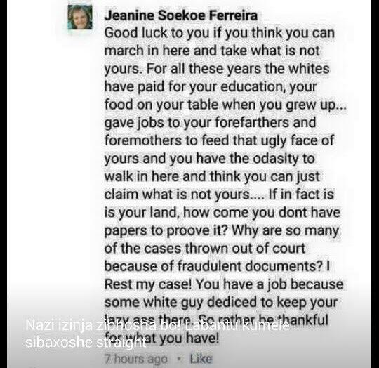 Another distasteful racist post from a white South African