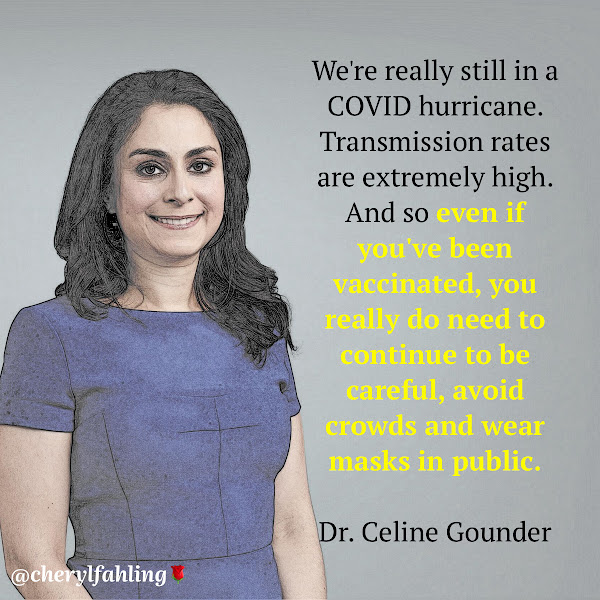 We're really still in a COVID hurricane. Transmission rates are extremely high. And so even if you've been vaccinated, you really do need to continue to be careful, avoid crowds and wear masks in public. — Dr. Celine Gounder, an infectious disease specialist at New York University who served as a COVID-19 adviser on the Biden transition team