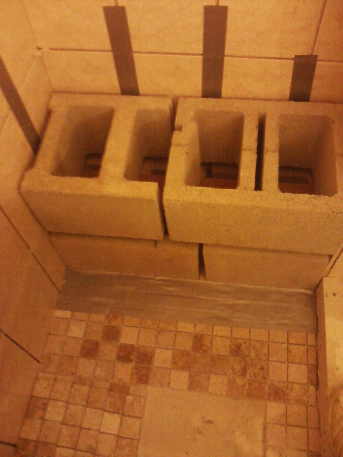 Inside shower benches wood concrete block