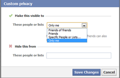 Facebook custom privacy
