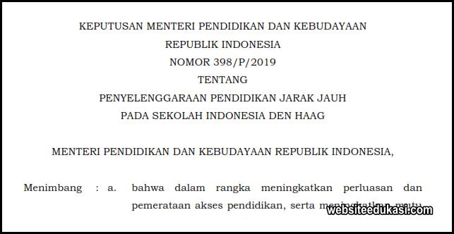 Kepmendikbud 398/P/2019, Penyelenggaraan Pendidikan Jarak Jauh Sekolah Indonesia Den Haag