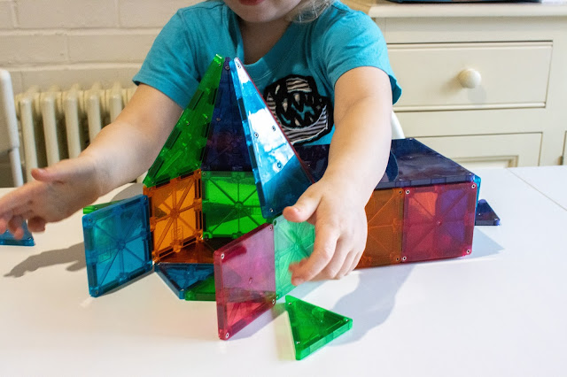Latest design with Magna-Tiles includes a cuboid and a pointed hexagon tower