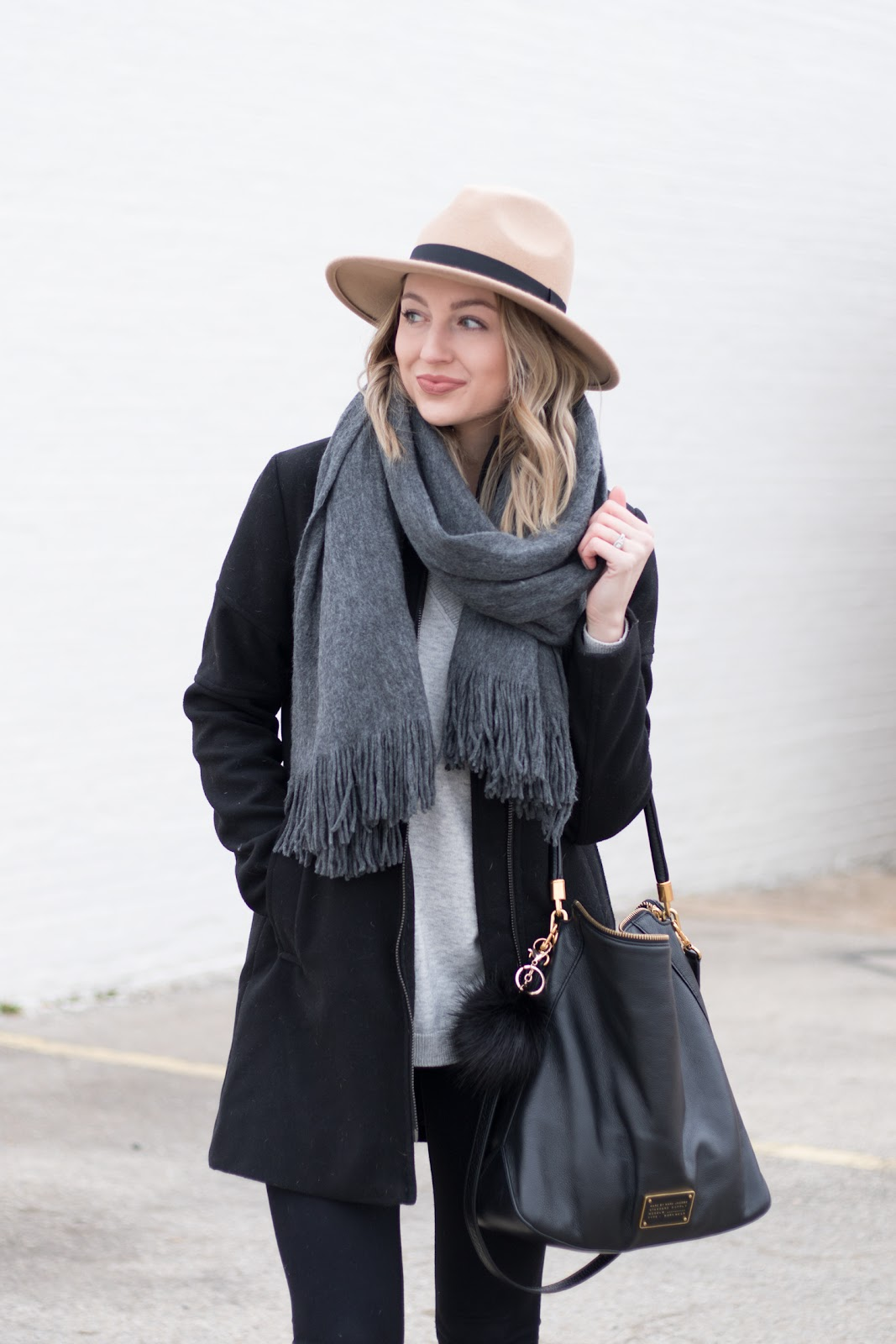 Gray scarf, camel hat