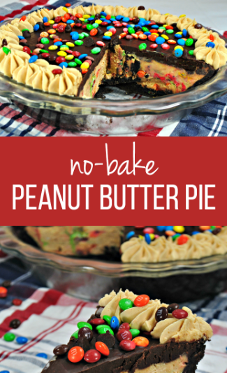 NO BAKE M&M CHOCOLATE PEANUT BUTTER PIE