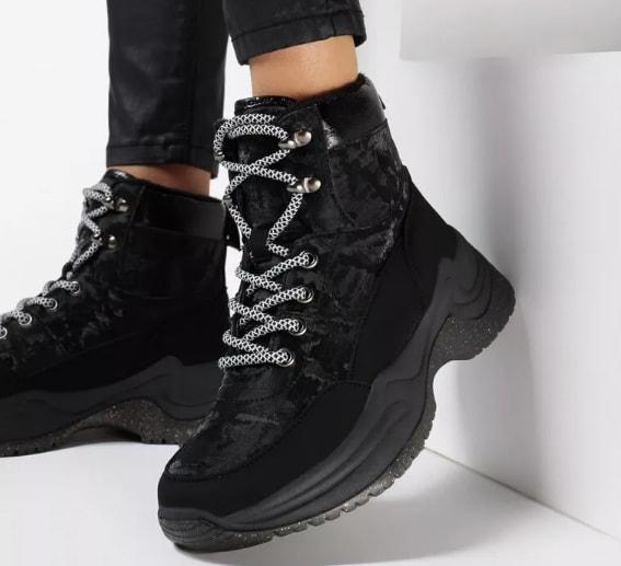 Sneakersi de dama inalti negri cu talpa groasa