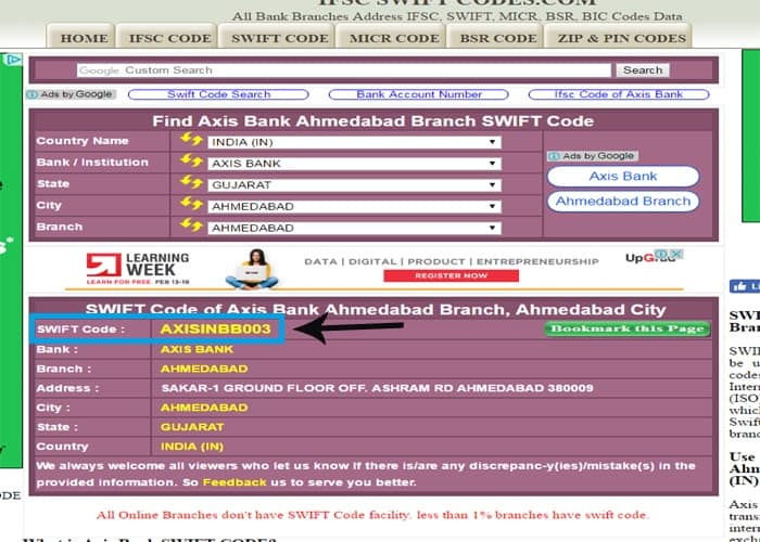 Select your axis bank name and get swift code