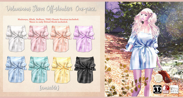{amiable}Voluminous Sleeve Off-shoulder One-piece@the Shiny Shabby March Round(50%OFF SALE).