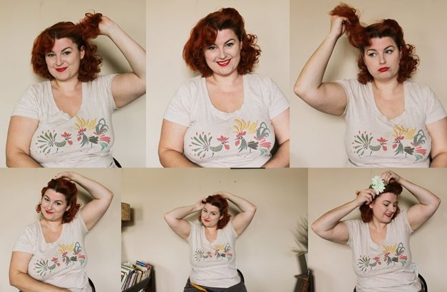 how to wear a hair flower with vintage victory roll updo tutorial