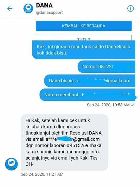 Menghubungi CS Dana Via DM Twitter