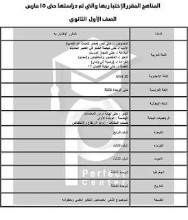 توزيع منهج الصف الأول الثانوي حتى ١٥ مارس