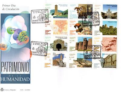 Sobre PDC del Pliego dedicado al Patrimonio de la Humanidad español. Matasellos de Oviedo