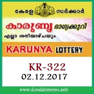 Kerala lottery result Karunya  KR-322 on  02.12.2017