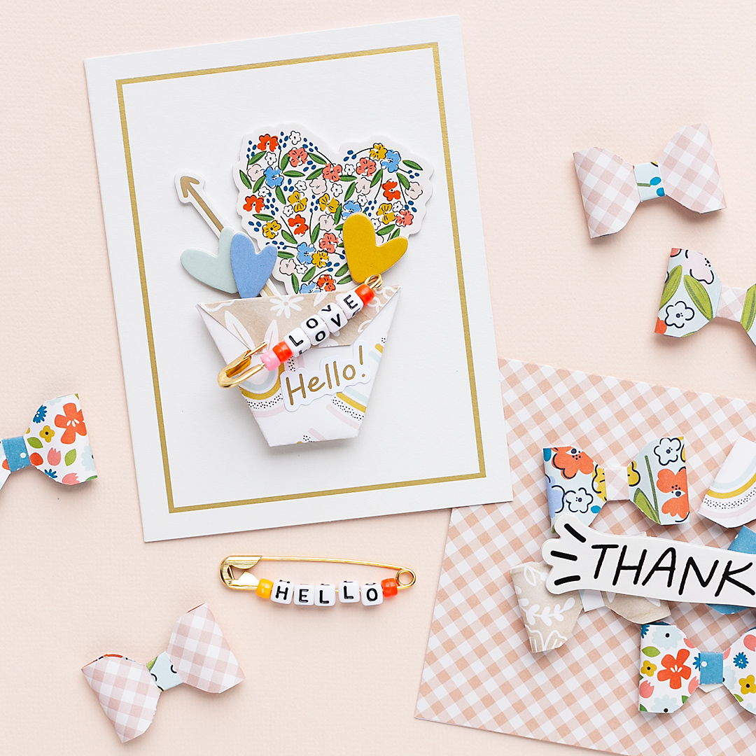 Cardmaking with a paper flower pot and stickers by Jen Hadfield Reaching Out