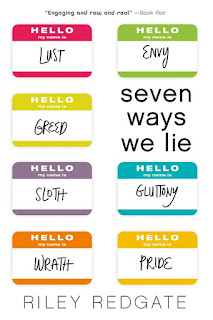 """Seven """"Hello my name is"""" nametags in various bright colors arranged two columns with """"SEVEN WAYS WE LIE"""" on the right side to fill out the grid. The nametags are labeled """"LUST"""", """"GREED"""", """"SLOTH"""", """"WRATH"""", """"ENVY"""", """"GLUTTONY"""", and """"PRIDE""""."""