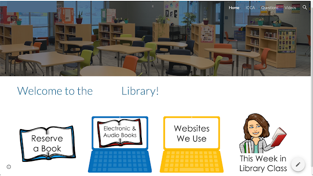 Screenshot of website showing bookshelves, tables, and chairs. Books, computers, and Bitmojis link to other pages.