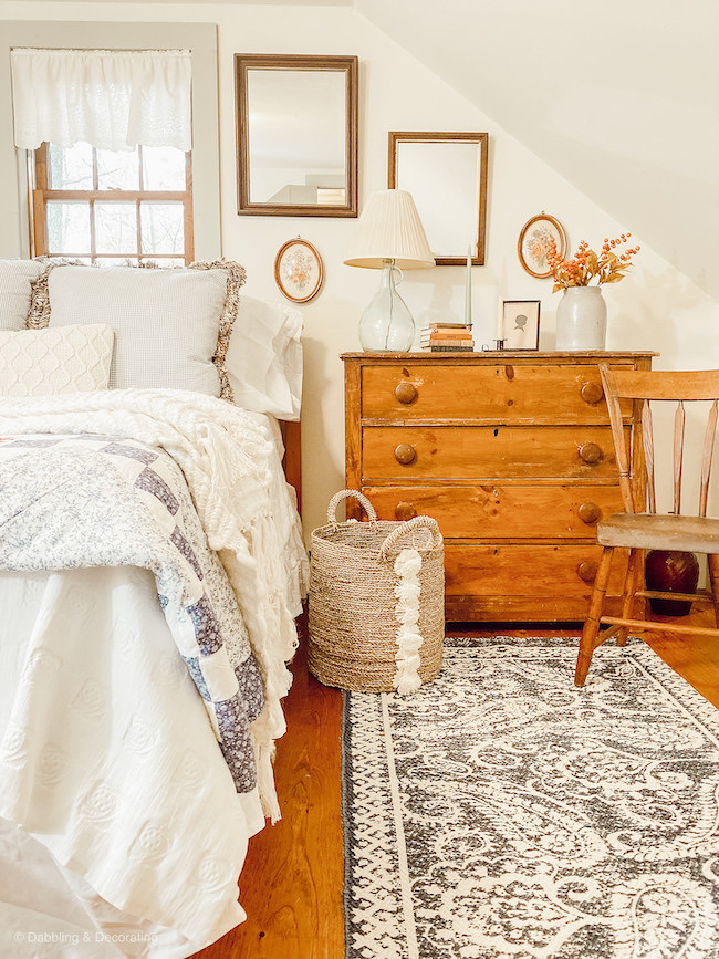 Coastal Maine Antique Guest Bedroom at Dabbling and Decorating featured on Pieced Pastimes