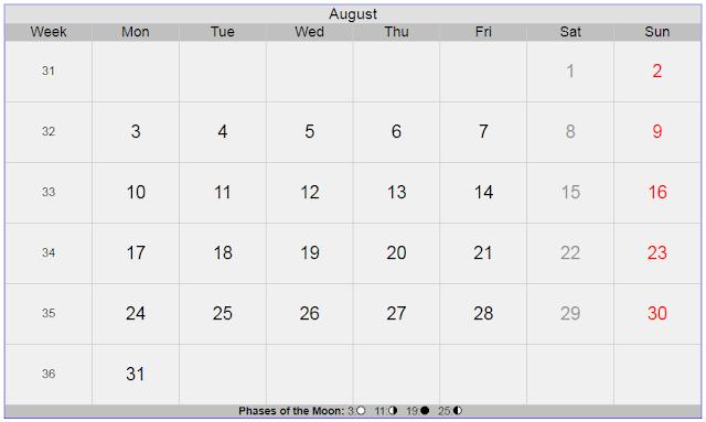 Calendar for August 2020 Sweden