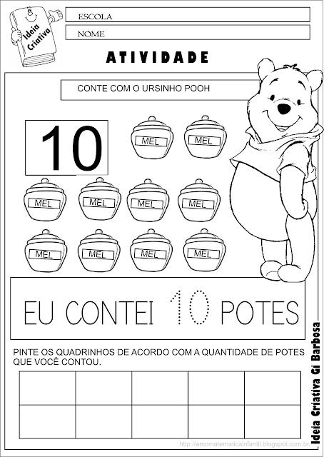 Caderno de Atividades Matemática Grátis Contando com o Ursinho Pooh