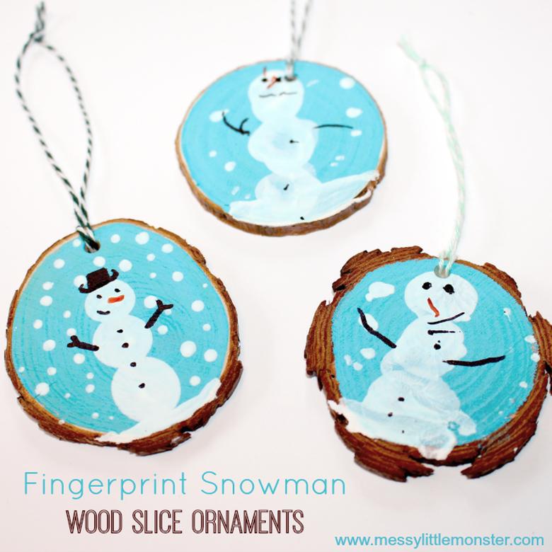 wood slice fingerprint snowman snow craft for kids
