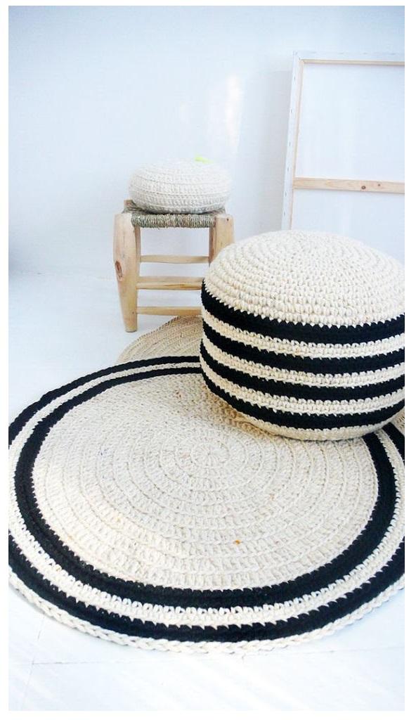 floor pouf Straw pouf Pouf ottoman meditation bean bag linen chair Crochet pouf thick wool Natural2