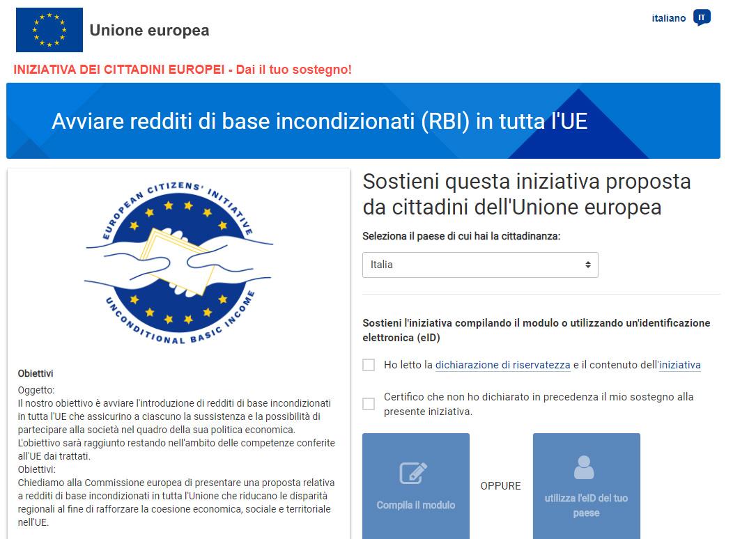 Iniziativa per reddito di base incondizionato in UE