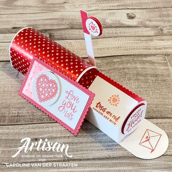 Boîte à lettre St-Valentin avec La collection Du fond du coeur Stampin' Up! mini catalogue 2020