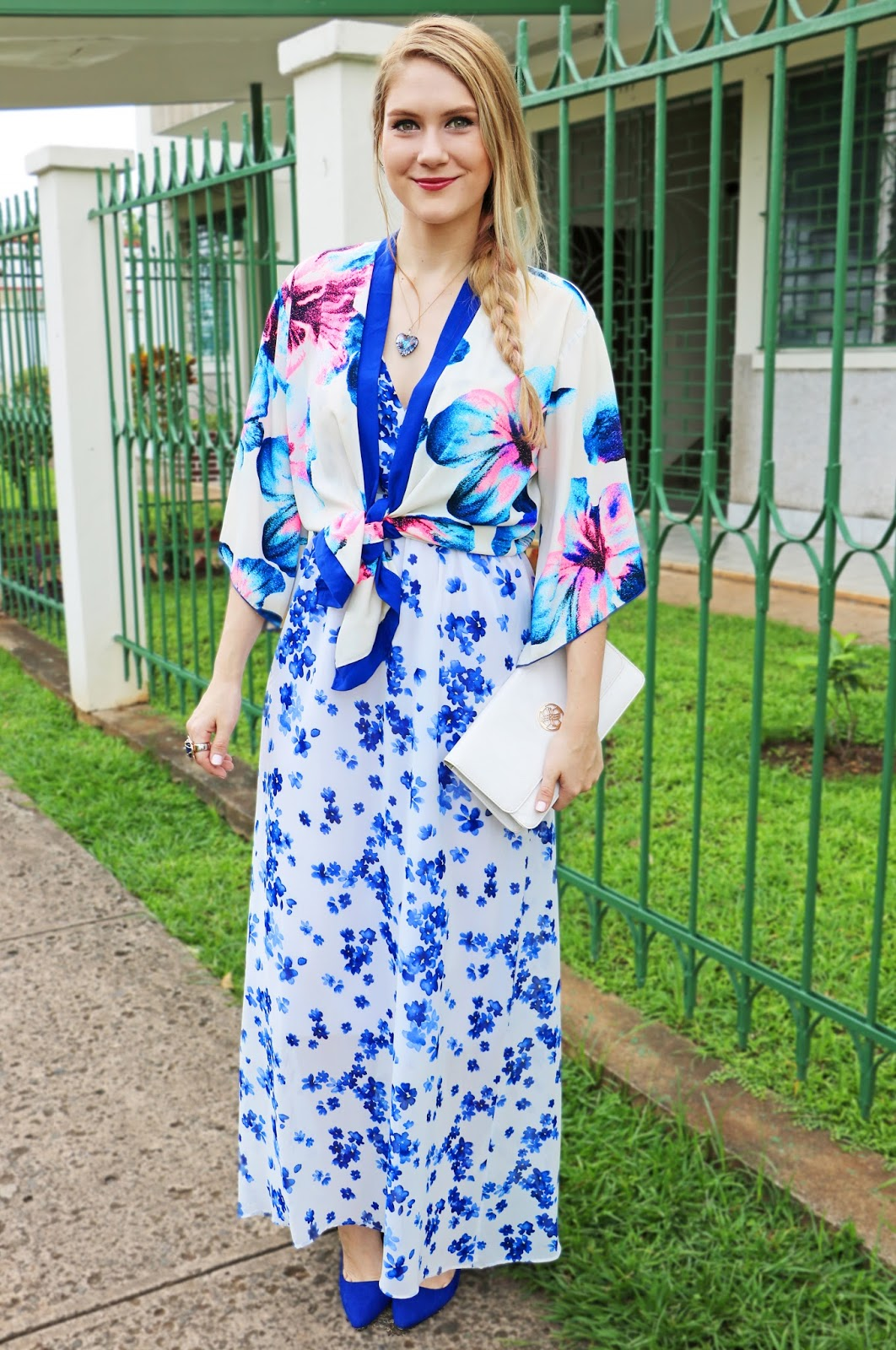 Pair a floral Kimono with a floral dress for a unique Spring outfit