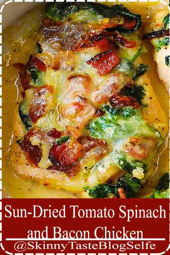 4.8 | ★★★★★ One of the best baked chicken breast recipes ever!  Chicken breasts are smothered with creamed spinach, sun-dried tomatoes, and bacon, and then baked in the oven.  Tender, moist, flavorful chicken.  No more boring chicken breasts! #Tomato #Spinach #Bacon #Chicken