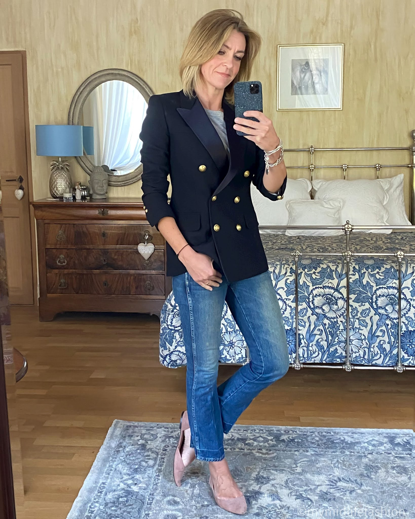 my midlife fashion, j crew double breasted blazer, Joseph crew neck t shirt, j crew cropped kick flare jeans, h and m pointed ballet pumps