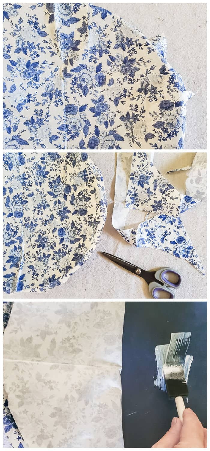 decoupage charger using paper napkin