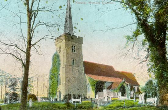 ostcard of the parish church of St Mary, North Mymms in the 1900s Image from J Potter, part of the Images of North Mymms Collection