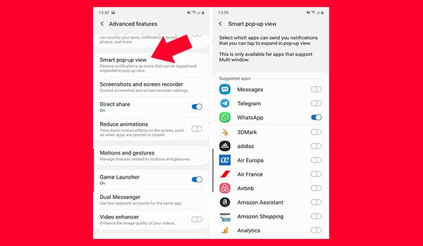 تحدد التطبيقات التى تريد عرض الاشعارات في ايقونات منبثقة على الشاشة
