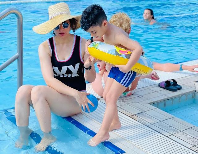 Kangana Ranaut enjoys pool in a black swimsuit