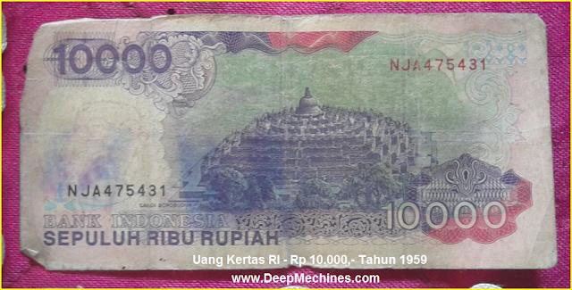 Gambar Mata Uang Kertas RI Rp 10.000,- Tahun 1992 bergambar Candi Borobudur