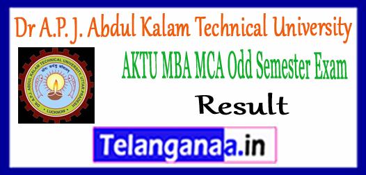 AKTU Dr A.P. J. Abdul Kalam Technical University MBA MCA 1st 3rd Semester Result 2018