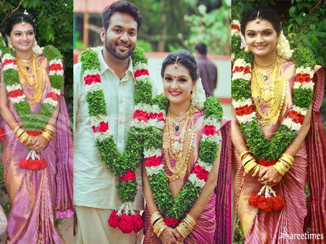 Actress Saranya Mohan Got Married To Dr Aravind Krishnan For Her Wedding Wore A Lavender And Gold Combination Striped Kanjeevaram Saree