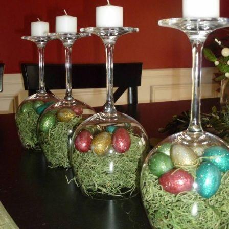 Centro de mesa com taças para decorar na Páscoa