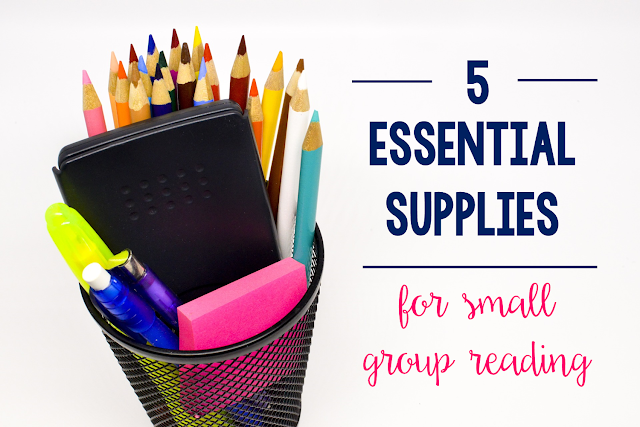 Check out the 5 supplies that are think are essential to small group reading.  Students in kindergarten and grades 1, 2, 3, 4 and 5 will benefit from these tips!  These supplies keep our small group reading group on track, organized, and hassle free.
